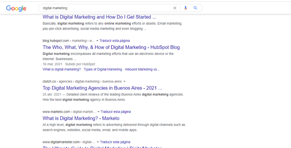 SERPs and type of content analysis